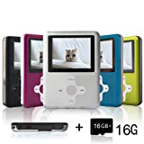 Lecmal Portable MP3/MP4 Player MP3 Voice Recorder with FM radio Function, Economic Multifunctional Music Player with Mini USB Port, Media Player for Kids (Silver-16G) (Color: Silver-16G)