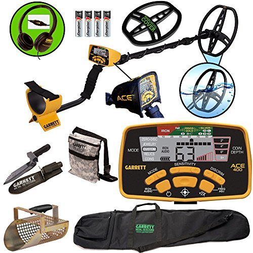 garrett-ace-400-metal-detector-with-dd-waterproof-coil-pouch-travel-bag-metal-scoop-edge-digger