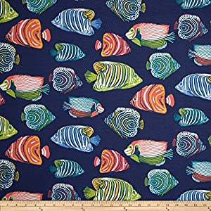P kaufmann indoor outdoor fish tale navy blue for Fish fabric by the yard