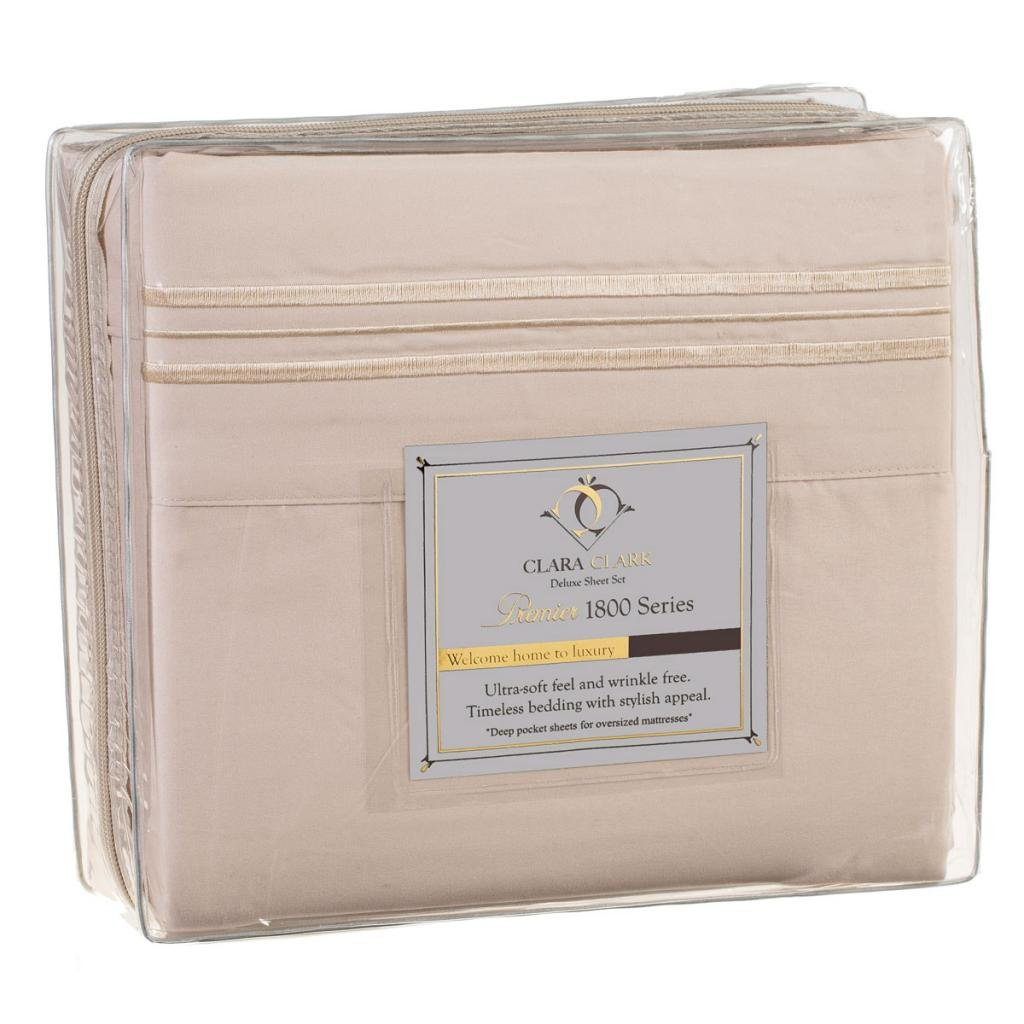 Clara Clark 1800 Premier Series 4pc Bed Sheet Set – King, Beige Cream $44.95