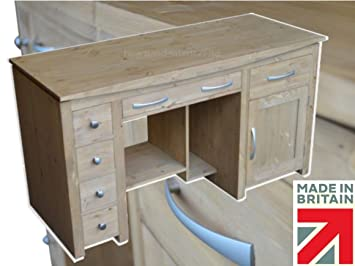 Solid Pine Desk, Contemporary Double Pedestal Workstation. Choice of colours, No Flat Packs, No Assembly (TP-P15)