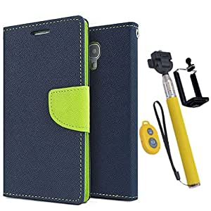 Aart Fancy Diary Card Wallet Flip Case Back Cover For Samsung S6 - (Blue) + Remote Aux Wired Fashionable Selfie Stick Compatible for all Mobiles Phones By Aart Store