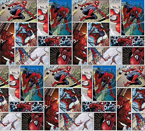 Spiderman Comic Scenes Fabric by The Yard (Sewing Fabric For Men compare prices)
