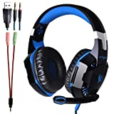 KOTION EACH G2000 Professional 3.5mm PC LED Light Gaming Bass Stereo Noise Isolation Over-ear Headset Headband with Mic Microphone HiFi Driver For Laptop Computer - Volume Control (Black-Blue) (Color: Black-Blue)