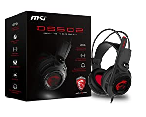 MSI Gaming Headset with Microphone, Enhanced Virtual 7.1 Surround Sound, Intelligent Vibration System (DS 502)