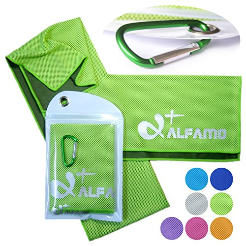 "Cooling Towel for Instant Relief - 40"" Long As a Bandana Scarf - XL Ultra Soft Breathable Mesh Yoga Towel - Keep Cool for Running Biking Hiking Basketball Football Golf and All Other Sports, Premium Waterproof Bag Packaging with Carabiner, 100% Money Back Guarantee"