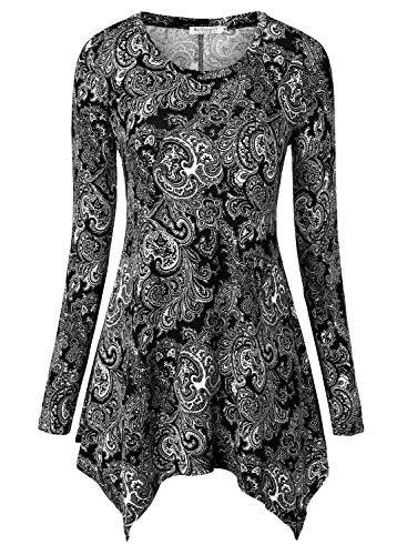 BAISHENGGT-Womens-Paisley-Printed-Handkerchief-Hem-Tunic-Top