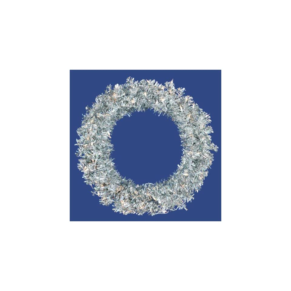 30 Pre Lit Silver Wide Cut Tinsel Artificial Christmas Wreath   Clear Lights