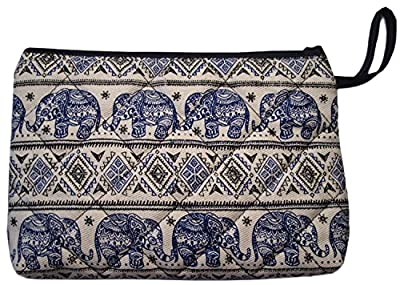 Best Cheap Deal for Pencil Pen Cosmetic Makeup Case Pouch Bag Elephant Canvas Unique Handmade Blue from Hand Made - Free 2 Day Shipping Available