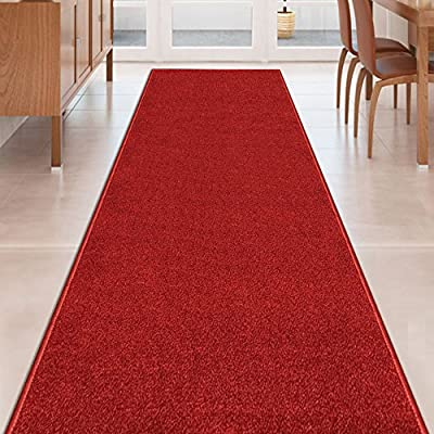 Custom Size Solid Plain Rubber Backed Non-Slip Hallway Stair Runner Rug Carpet 22 or 31 Inch Wide Choose Your Length