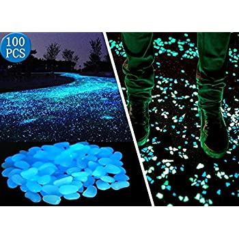 Opps 100 Pcs Glow in the Dark Garden Pebbles for Walkways and Decor in Blue