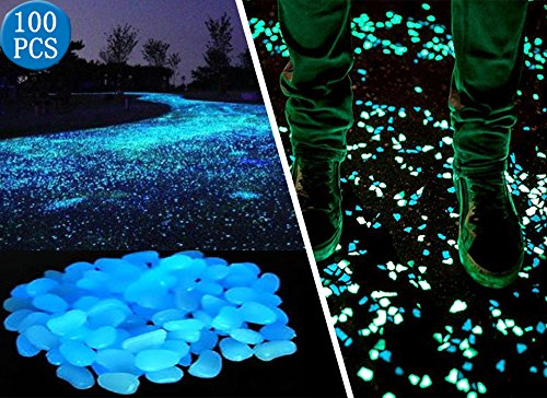 100 Pcs Glow in the Dark Garden Pebbles for Walkways and Decor in Blue (Garden Decorations Outdoor compare prices)