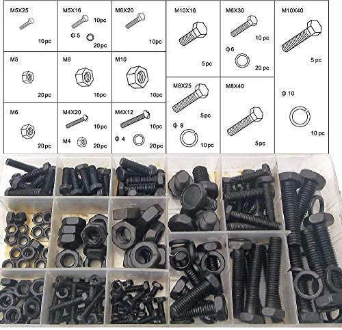 240 Piece metric Nuts And Bolts Set - Black Oxide Finish Hex Head Bolts, Hex Nuts, And Washers - Assorted Kit - Re-Sealable Plastic Case - By Katzco (M10 Plastic Washer compare prices)