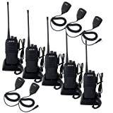 Retevis RT1 10W Two Way Radios Long Range UHF 70CM 16CH VOX Scrambler Ham radio and Speaker Mic (5 Pack) (Color: Black)