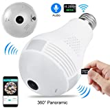 360 Degree IP Home Camera Bulb Security Wifi Spy Double Light Fish Eye Panoramic Light Hidden Remote Home Security System Lenyes 1.3MP Motion Detection