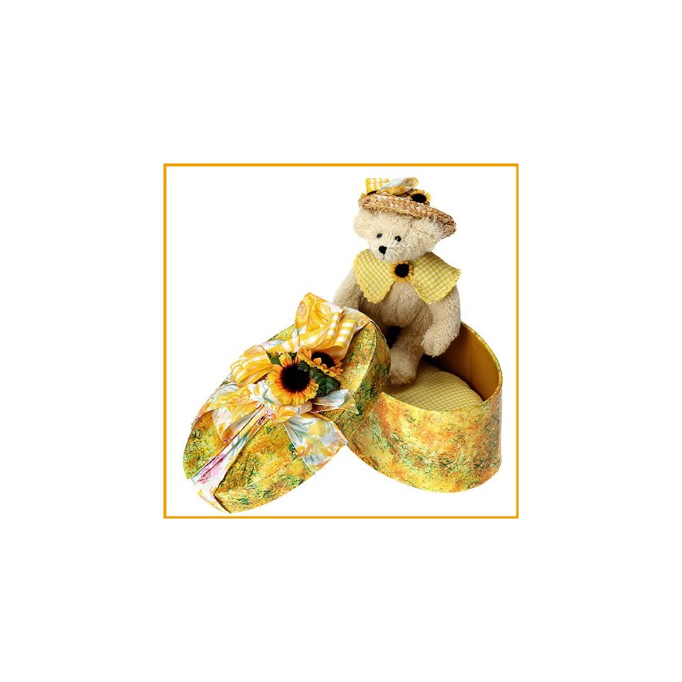 Ashton Drake Sunny Summer Hatbox Honeys Collectible Teddy Bear Plush Stuffed Animal Toy By Christy Firmage   With Sunflower Hatbox