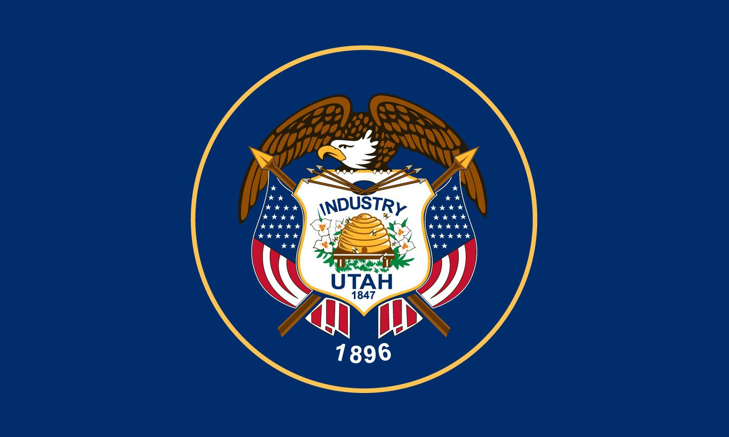 Utah State Flag Coloring Pages Usa For Kids Utah State Flag Coloring Page