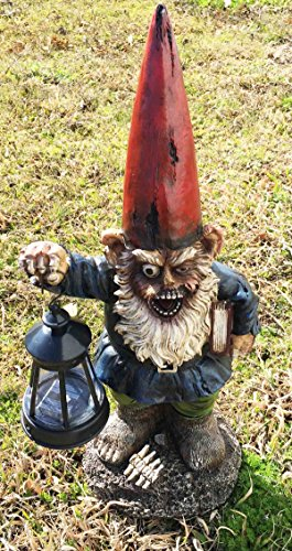 Walking Undead Zombie Walkers Gnome Carrying Lantern Garden LED Solar Light Statue Sculpture