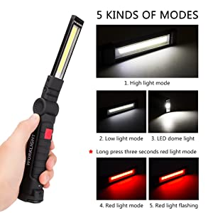 Led Work Light, Coquimbo Rechargeable Work Lights with Magnetic Base 360°Rotate and 5 Lighting Modes Ultra Bright COB Flashlight Inspection Lamp for Car Repair, Home Using and Emergency (Large) (Color: Black, Tamaño: Large)