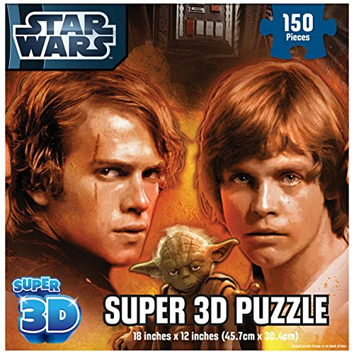 STAR WARS Super 3D Puzzle 150 Pieces with Darth Vader, Anakin & Luke Skywalker, Senator Amidala, Princess Leia, Obi-Wan Kenobi, Han Solo and Yoda by Cardinal - 1