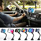 SQdeal® Universal Double Clip 360 Rotating Flexible Car Mount Bracket Cradle Holder Stand for Iphone 6/6 Plus/5s/5c/5/4s/4, Ipod Touch, Samsung Galaxy S5/s4/s3, Samsung Galaxy Note 4/3/2, LG g2 G pro2, G3, LG flex,Nokia, Motorola, Blackberry Bold 9900/q10/z10,HTC One,/one X Droid Razr, Support for Cell Phone and GPS Navigation Wide less than 95mm/3.74 inch
