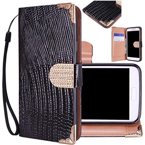 Majesticase® Samsung Galaxy S5 i9600 Wallet Case - Deluxe Bling Fancy Wristlet Wallet Purse Clutch Croc Pattern Cover + FREE Stylus in Black