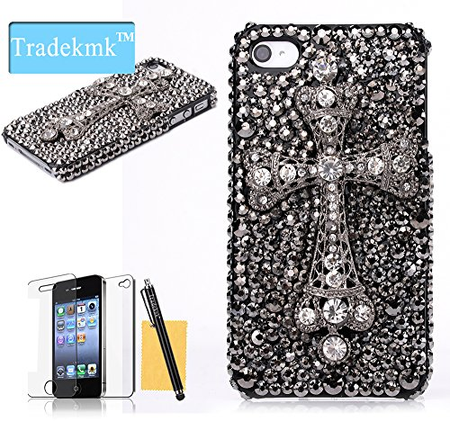 Tradekmk(Tm)Popular Glitter Bling Paillette Cross Pattern Hard Back Case Protective Cover Fit For Apple Iphone 4 4S,With Stylus Pen,Screen Protector And Cleaning Cloth