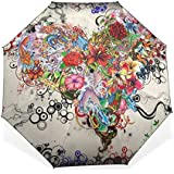 BAIHUISHOP 3 Folding Parasol Sun Protection Anti-UV Sun And Rain Umbrellas Floral Heart Art Pattern Windproof...