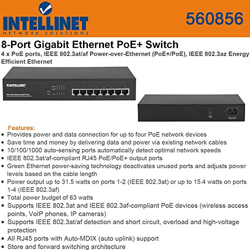 Intellinet 8-Port (4X4) PoE+ Desktop Gigabit Switch (560856) (Direct Port Switch compare prices)