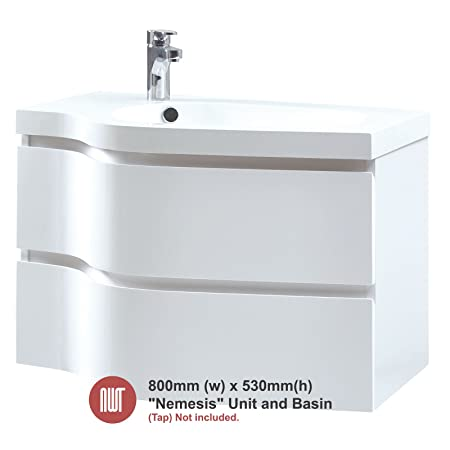 Nemesis White Wall Mounted Unit & Basin - 800mm(w) x 530mm(h) x 460mm (d)