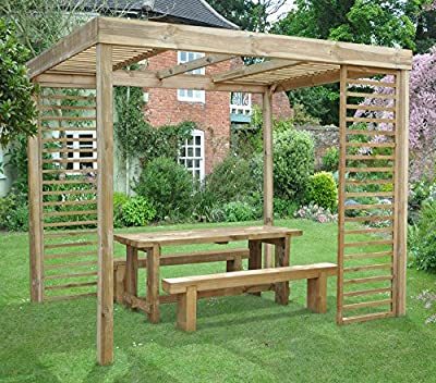 Garden Wooden Pergola with sides 10ft x 8ft OGD066