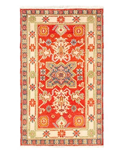 Hand-Knotted Royal Kazak Rug, Cream/Dark Copper, 3' 1 x 5' 1 As You See
