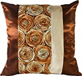 "Artiwa 16""x16"" Square Silk Bed Decorative Pillowcase Copper Brown 3D Rose"