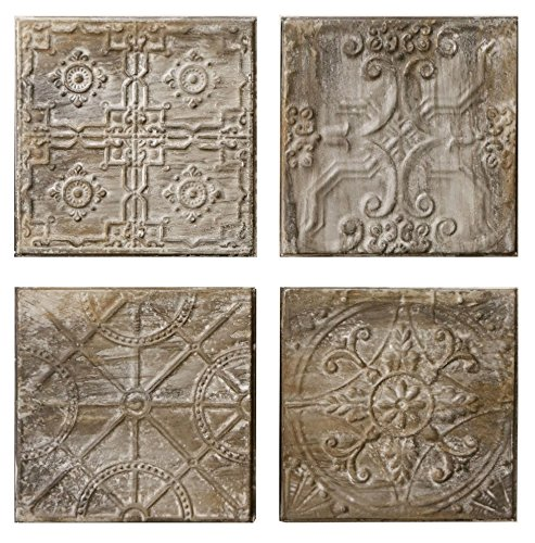 4 Pc Embossed Tin Tiles with an Antique Finish