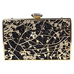 Fawziya Floral Handbags For Womens Purse Party Clutches-Black