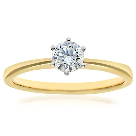 Naava 18ct 6 Claw Engagement Ring, E/SI2 EGL Certified Diamond, Round Brilliant, 0.41ct
