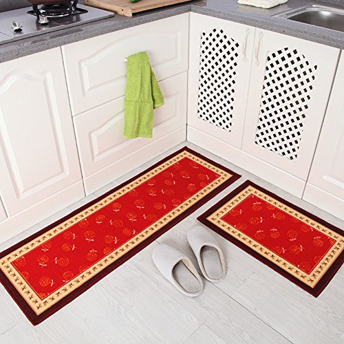 Homartary Home And Kitchen Rugs Rubber Backing Non-Slip Doormat Runner Mats Set 2 Piece (15