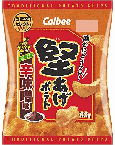 カルビー 堅あげポテト辛味噌味 63g×12袋
