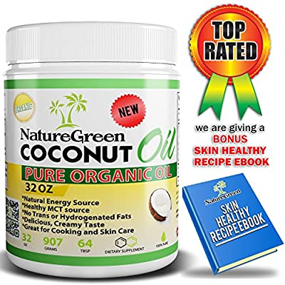Coconut Oil-Raw PURE ORGANIC EXTRA VIRGIN COCONUT OIL -Weight Loss Benefits-Best for Cooking Tasty weight Loss Diet Recipes-Perfectly Natural Uses For Dry Skin Care-Good for Hair Care Beauty-Cook Healthy Recipes-100%Money Back GUARANTEED!Made in USA