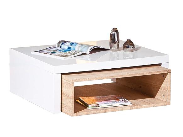 Tavolino da salotto sinistra Zola MDF, 82 x 70 x 30,5 - 70 x 23,5 cm, rovere sonoma eiche / weiß