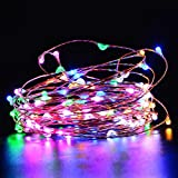 LUCKLED Starry String Lights - 33ft 100LED Fairy Copper Wire Rope Lights Decorative Lighting for Indoor Outdoor Decor - Home - Garden - Patio - Holiday - Christmas Party Decorations(Rainbow-Colors)