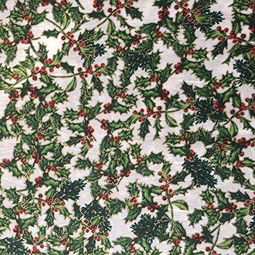 Tischdecke, weiß, 100% Baumwolle, foliert, Stechpalmen-Motiv, Weihnachts-Design mit gold, 139.70 cm breit, Meterware