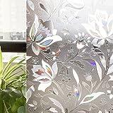 CottonColors(コットンカラーズ)3D窓用フィルム 浴室目隠しシート 断熱/紫外線カット 無接着剤 再利用可能 プライバシーガラスフィルム(90 x 200Cm)[蘭008]