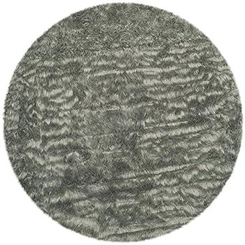 Safavieh Faux Silky Sheepskin FSS235D Grey Round Area Shag Rug (4 Diameter)