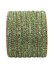 Newsantosh Colourful Bollywood Style Alloy Crystal Rhodium Plated Bangle Set (Pack Of 17)