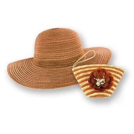 Sun Lily Foldable Sun Hat w/ Tote (Brown)