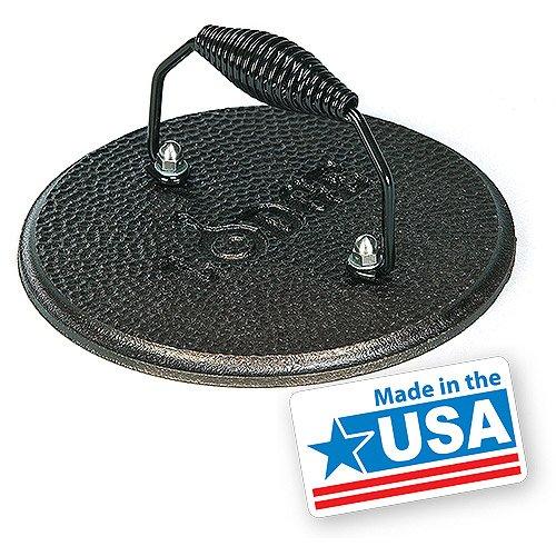 Kitchen Round Cast Iron Grill Press, Spiral Handle, Non-Stick, Hand Wash