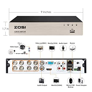 ZOSI 8-Channel FULL 1080P HD-TVI Video Security System CCTV DVR 1TB Hard Drive + 8 Indoor/Outdoor 2.0MP 1920TVL Weatherproof Surveillance Security Camera System, Smartphone, PC Easy Remote Access (Color: 8CH+8Camera+1TB, Tamaño: 8CH+8Cameras+1TB)