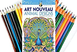 Dover Creative Haven Art Nouveau Animal Designs Coloring Book (Book& Colored Pens/Pencils)