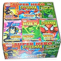 World Confections Super Hero Candy Sticks with Tattoo, 30-Count (Pack of 2)